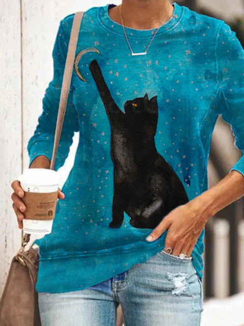Women's Black Cat Reaching For The Moon Watercolor Painting T-shirt