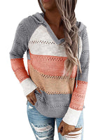 Load image into Gallery viewer, Multicolor Stitching Hooded V-neck Sweater