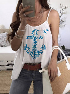Women's Anchor Print Sleeveless Strapless Vest Top