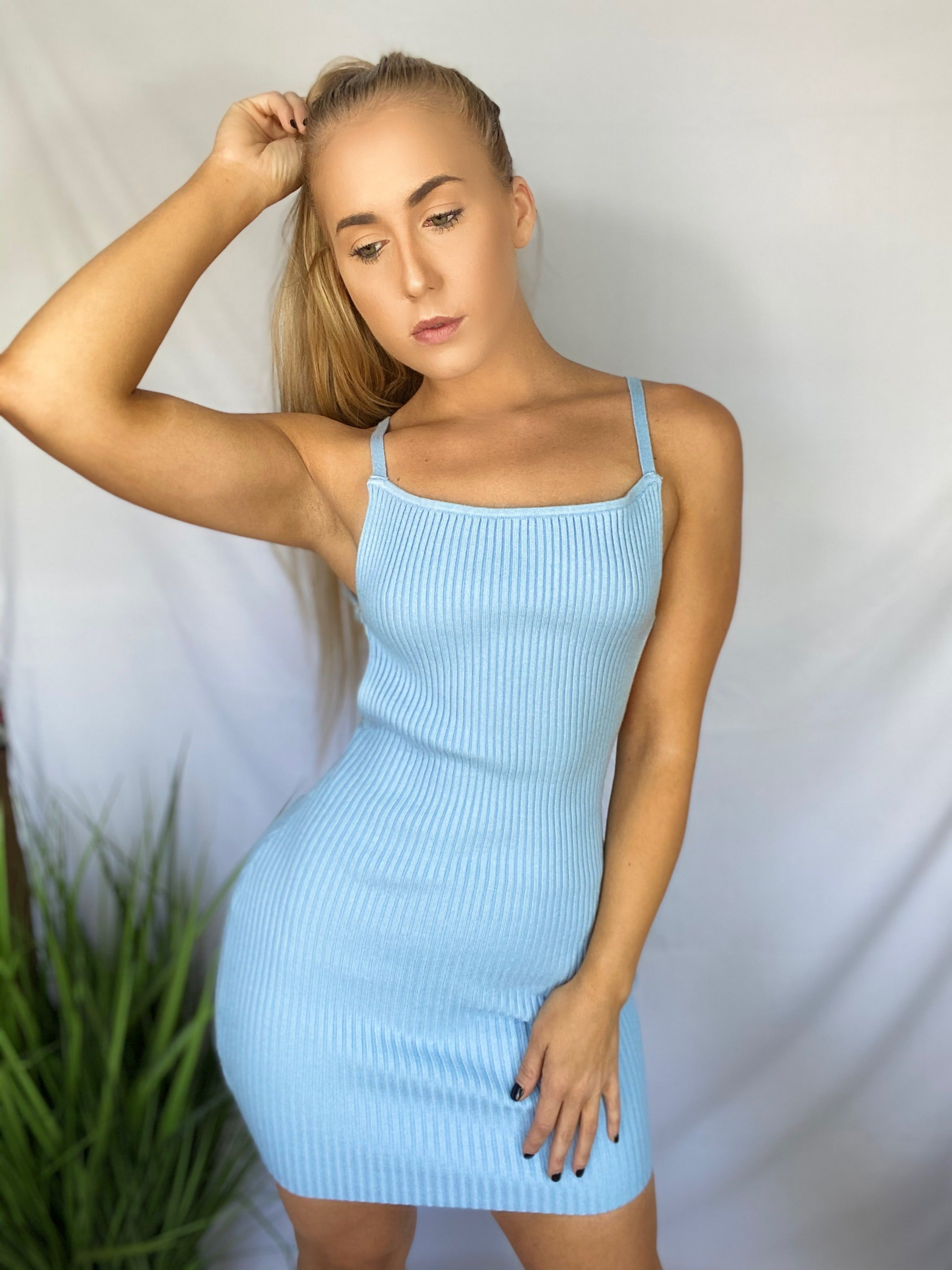 Lacey Knit Dress - Baby Blue