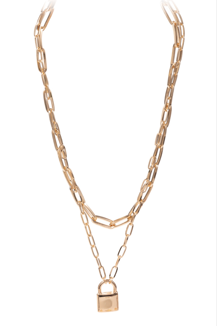 Astrid Lock Paperclip Necklaces - Gold