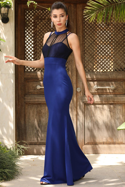 Toll Detailed Front Saxe Evening Gown