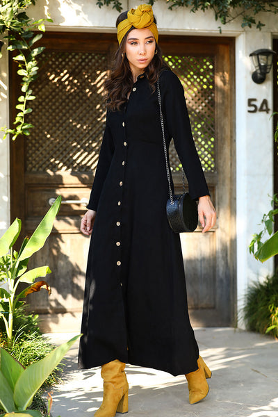 Women's Button Black Velvet Long Dress