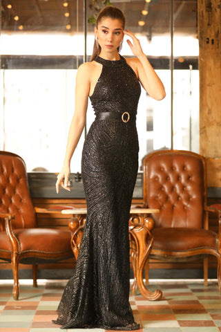 Women's Belted Fish Model Sequin Black Long Evening Dress