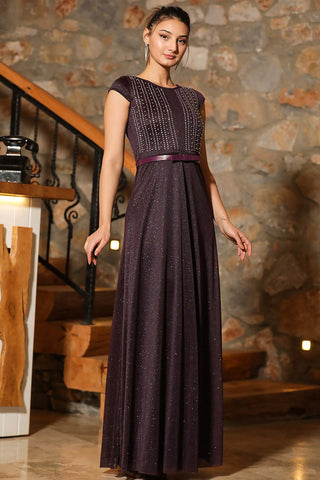 Women's Pearl Top Glitter Purple Evening Dress