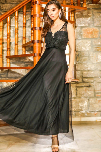 Women's Brooch Collar Lace Detail Tulle Black Long Evening Dress