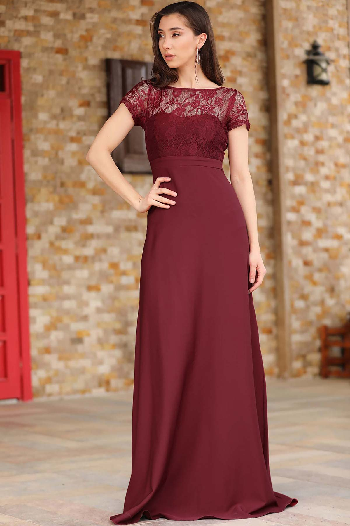 Women's Lace Embroidered Top Claret Red Evening Dress