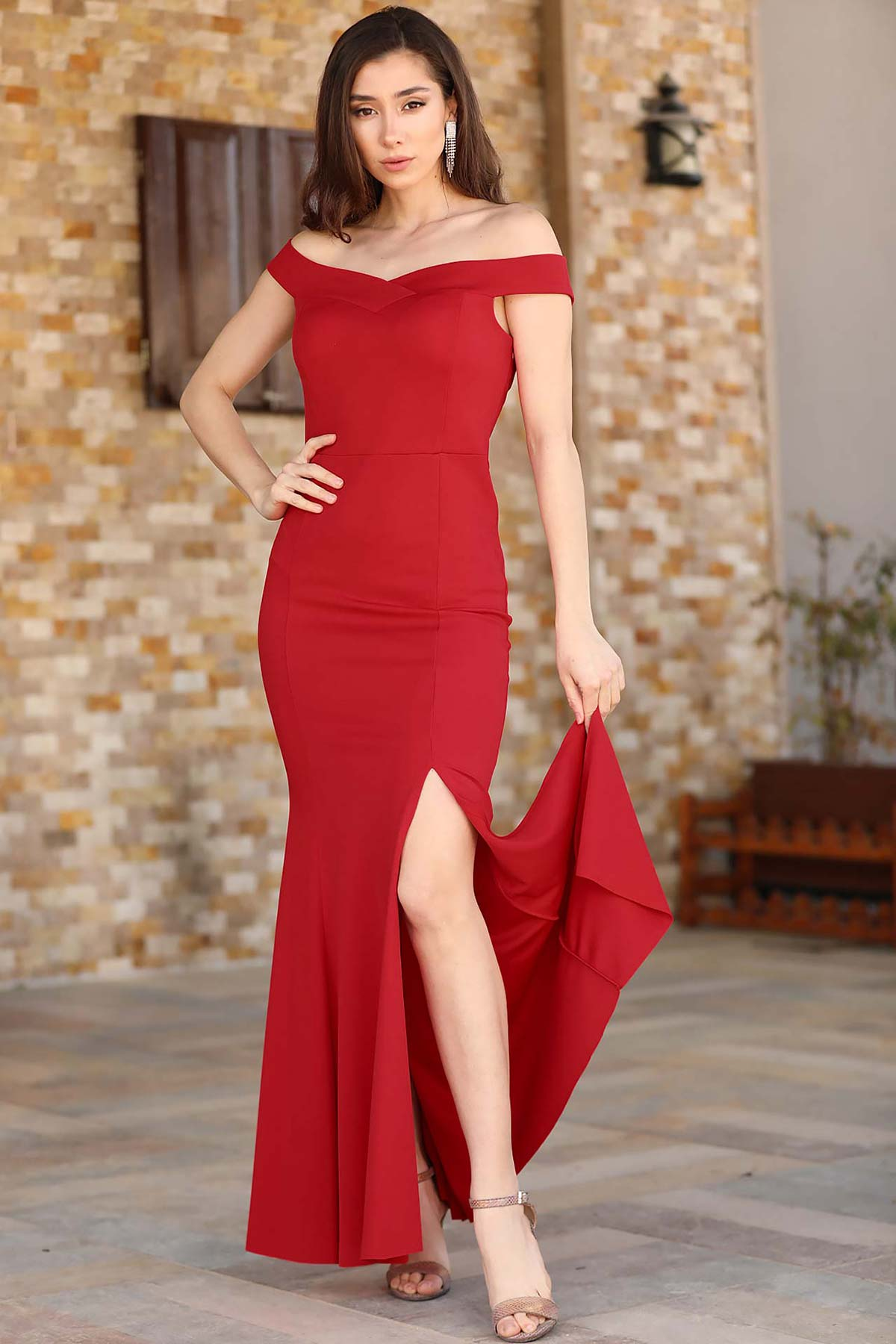Slit Detail Red Evening Dress