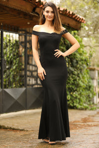Slit Detail Black Evening Dress