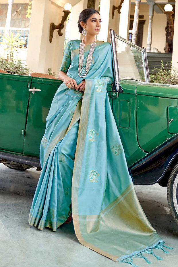 Baby Blue Zari Butta Banarasi Chanderi Saree