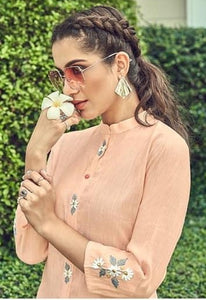 Exclusive light peach kurti palazoo for Festive look.