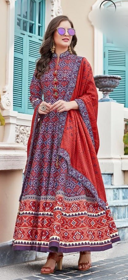 Trendy Patola print gown to enhance your beauty ..