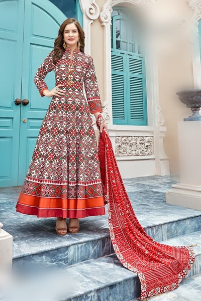 Trendy Patola print gown to enhance your beauty..