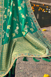 SHADES OF GREEN WOVEN DESIGNER BANARASI SAREE WITH EMBROIDERED SILK BLOUSE - WEDDING COLLECTION