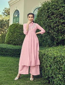 Exclusive light pink kurti palazoo for Festive look.