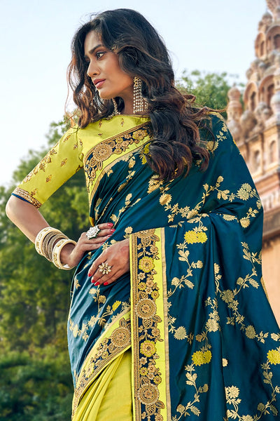 LIME GREEN,DARK TEAL BLUE WOVEN DESIGNER BANARASI SAREE WITH EMBROIDERED SILK BLOUSE
