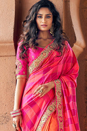 SHADES OF PINK WOVEN DESIGNER BANARASI SAREE WITH EMBROIDERED SILK BLOUSE