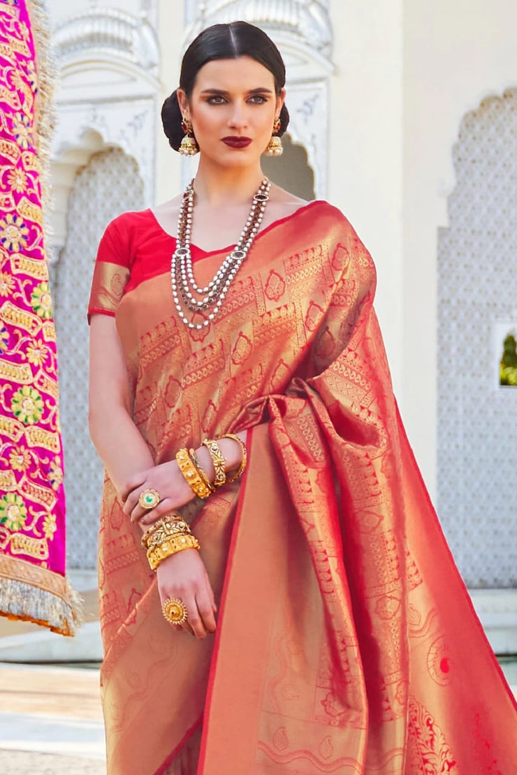 Cherry Red Woven South Silk Saree
