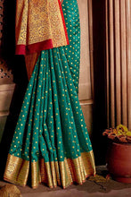 Load image into Gallery viewer, PEACOCK GREEN ZARI WOVEN BANARASI SAREE