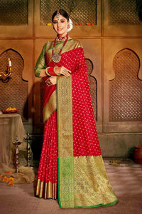 CHERRY RED ZARI WOVEN BANARASI SAREE
