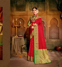 Load image into Gallery viewer, CHERRY RED ZARI WOVEN BANARASI SAREE