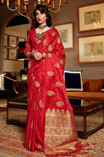 Load image into Gallery viewer, Crimson Red Zari Butta Woven Banarasi Saree