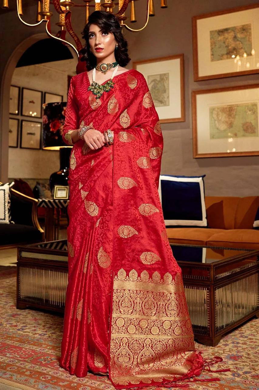 Crimson Red Zari Butta Woven Banarasi Saree