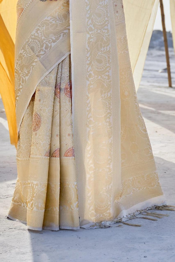 White Gold Kanjivaram Saree