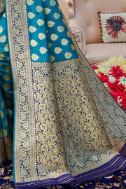 Olympic Blue Zari Butta Woven Banarasi Saree