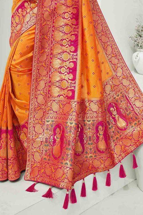 Beautiful Apricot Orange Designer Banarasi Saree