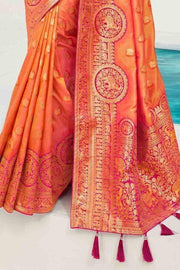 Beautiful Coral Orange Designer Banarasi Saree