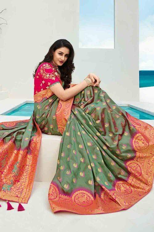 Beautiful Bluish Green Designer Banarasi Saree
