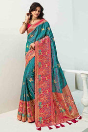 Beautiful Bahama Blue Designer Banarasi Saree