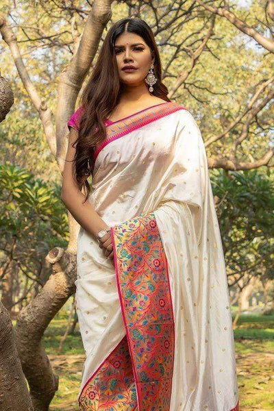 Off White Broad Border Paithani Saree