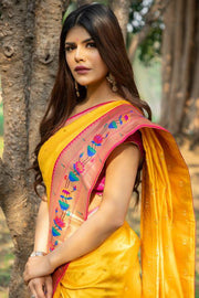 Honey Yellow Broad Border Paithani Saree