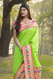 Lime Green Broad Border Paithani Saree
