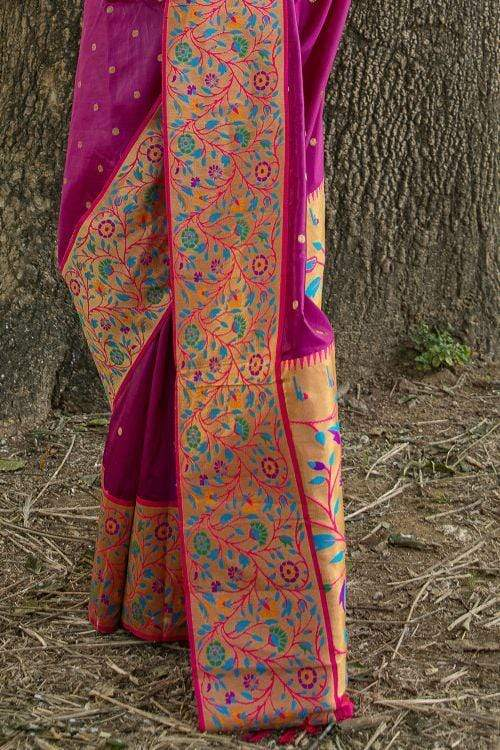 Magenta Purple Broad Border Paithani Saree