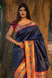 Denim Blue Broad Border Paithani Saree