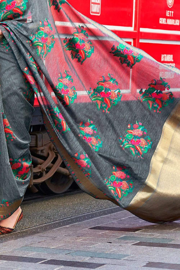 Anchor Grey Floral Printed Linen Saree
