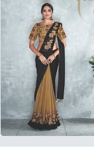 Stunning Golden Black Readymade saree to make you look classy