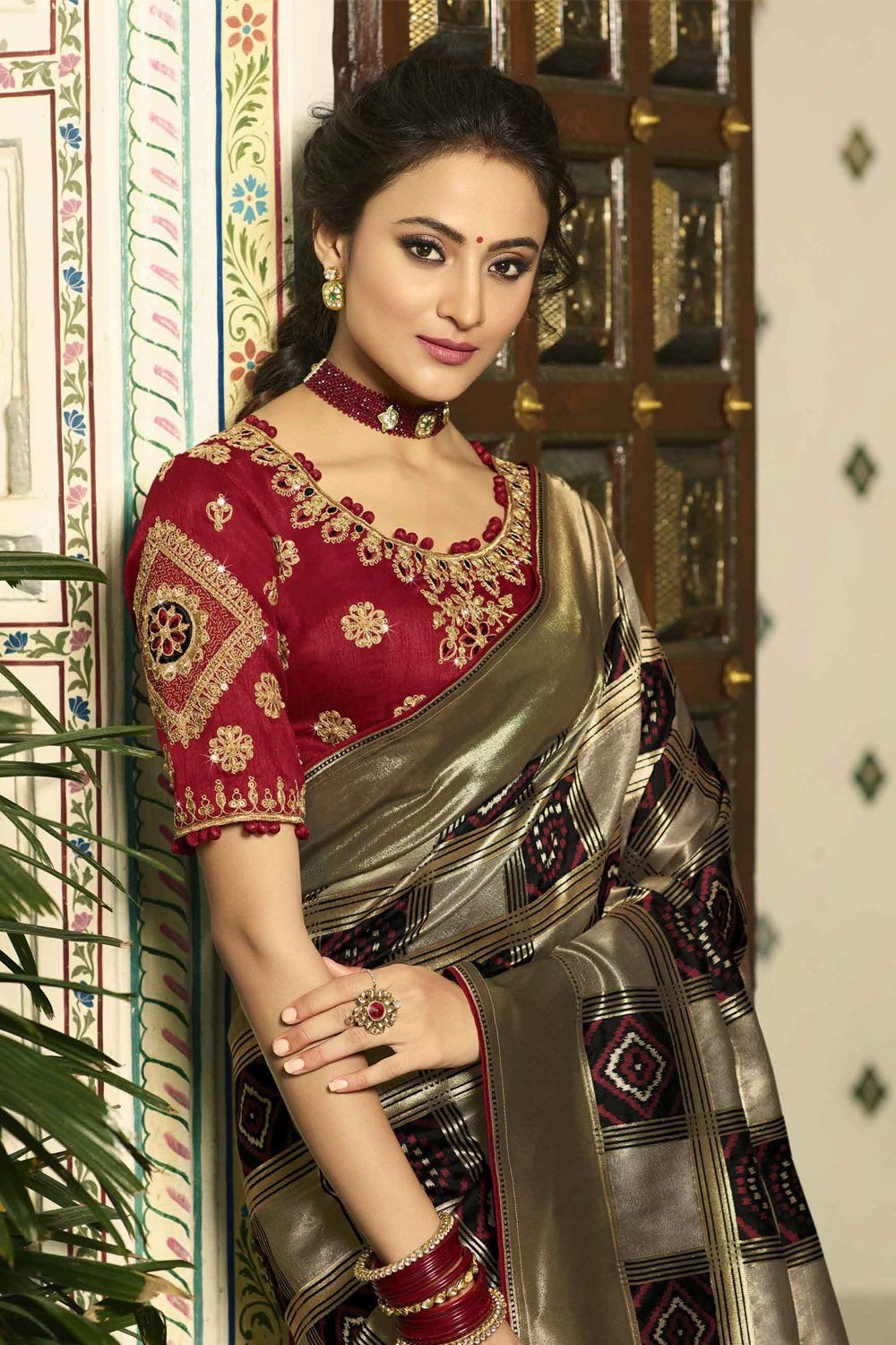 Greyish Black designer banarasi saree with embroidered silk blouse