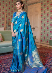 Azure Blue Zari Woven Jamewar Silk Saree