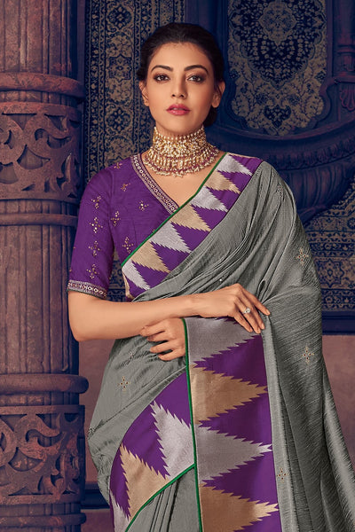 Seal grey woven paithani saree