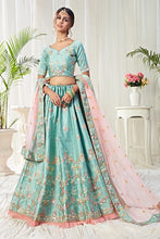 Load image into Gallery viewer, Light Green Net Fabric Designer Lehenga Choli With Heavy Embroidery Work