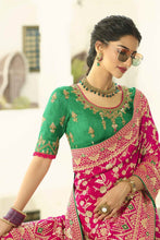 Load image into Gallery viewer, Bridal pink designer banarasi saree with embroidered silk blouse