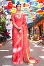Load image into Gallery viewer, Coral pink zari woven beautiful Banarsi  Silk Saree