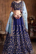 Load image into Gallery viewer, Navy Blue silk Party wear Lehenga