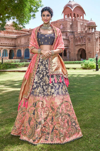 SLATE GREY,ROSE PINK EMBROIDERED SILK LEHENGA WITH EMBROIDERED BLOUSE AND DUPATTA