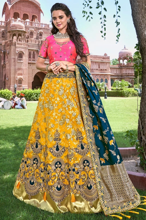 SUNFLOWER YELLOW EMBROIDERED SILK LEHENGA WITH EMBROIDERED BLOUSE AND DUPATTA