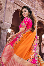 Load image into Gallery viewer, TANGERINE ORANGE EMBROIDERED SILK LEHENGA WITH EMBROIDERED BLOUSE AND DUPATTA